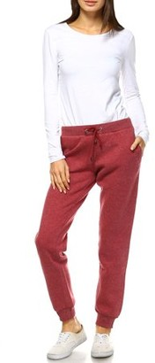 White Mark Women's Athleisure Fleece Jogger Pants