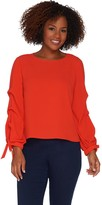 Vince Camuto Tiered Sleeve Tie Cuff Textured Woven Sheer Blouse