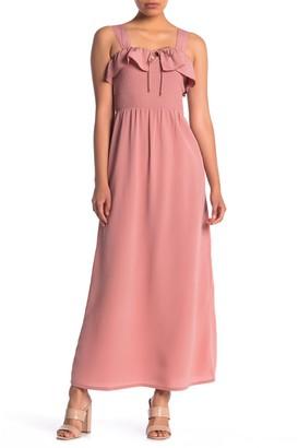 Planet Gold Smocked Ruffle Bodice Mini Dress