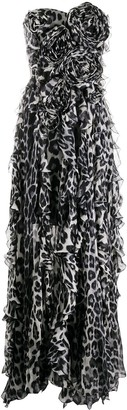 Blumarine Animal-Print Strapless Gown