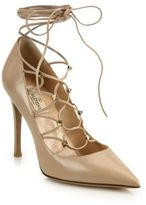 Valentino Leather Lace-Up Pumps