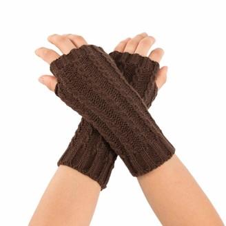 Huyuri Women Winter Wrist Arm Warmer Solid Knitted Short Fingerless Gloves Mitten
