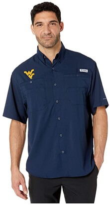 Columbia College West Virginia Mountaineers Collegiate Tamiami II Short Sleeve Shirt (Collegiate Navy) Men's Short Sleeve Button Up