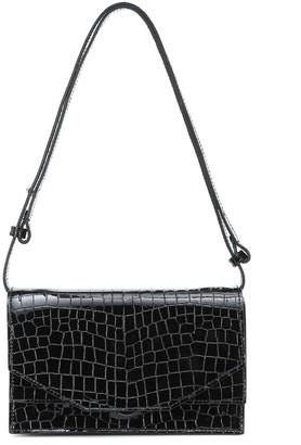 Ganni Croc-effect patent leather shoulder bag