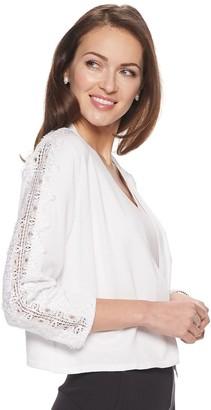 Nina Leonard Women's Lace-Trim Bolero