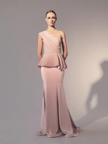 Nicole Bakti 581 One Shoulder Peplum Evening Gown