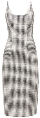 Alessandra Rich Sequinned Tailored Houndstooth Dress - Black White