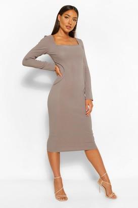 boohoo Bandage Rib Seam Detail Long Sleeve Midi Dress