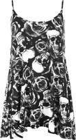 WearAll Women's New Strappy Skull Rose Print Camisole Vest Top - US 8-10 (UK 12-14)
