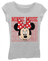 Freeze Heather Gray Minnie Mouse Face Tee - Girls