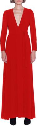 Akris Surplice-Neck Long-Sleeve Georgette Wrap Dress