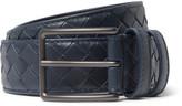 Bottega Veneta 3cm Blue Intrecciato Leather Belt - Midnight blue