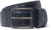Bottega Veneta 3cm Blue Intrecciato Leather Belt
