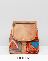 Reclaimed Vintage Leather & Tapestry Mix Backpack