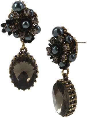 Miriam Haskell Flower Faux Pearl Crystal Double Drop Earrings
