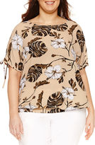 Liz Claiborne Short Sleeve Scoop Neck Woven Blouse-Plus