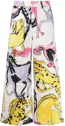Stella McCartney Horse Print Cropped Trousers