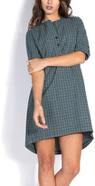 JET Emerald Plaid Button-Front Tunic