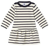 Petit Bateau Baby girls dress in striped velours