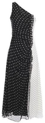 House of Holland One-shoulder Pleated Polka-dot Silk-chiffon Midi Dress