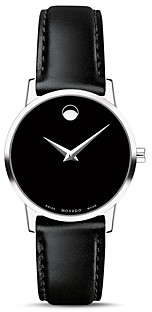 Movado Museum Classic Black Leather Strap Watch, 28mm