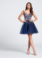Ellie Wilde - EW21738S Embroidered Short Tulle Dress