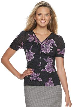 Apt. 9 Petite Ruched V-neck Top