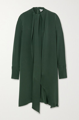 Loewe Draped Silk-crepe Midi Dress - Green