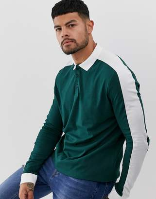 Asos Design DESIGN organic long sleeve polo shirt with contrast shoulder panel in green