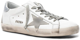 Golden Goose Leather Superstar Low Sneakers in White & Silver | FWRD