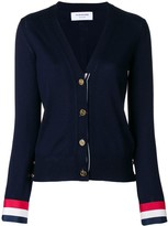 Thom Browne V-neck Cardigan With Red, White And Blue Grosgrain Cuff In Fine Merino Wool