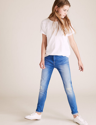 Marks and Spencer Super Skinny Frayed Bromo Wash Jeans (6-16 Years)