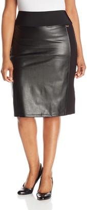 Calvin Klein Women's Plus-Size Essential Power Stretch Pleather Front Skirt