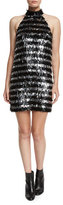 Michael Kors Fringe Striped Halter Mini Dress, Black