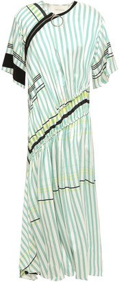 Cédric Charlier Ruched Zip-detailed Striped Twill Midi Dress