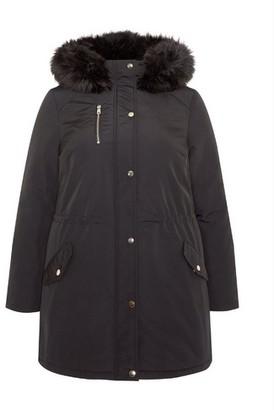 Dorothy Perkins Womens **Dp Curve Black Fur Parka Coat, Black