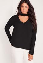 Missguided Plus Size Choker Blouse Black