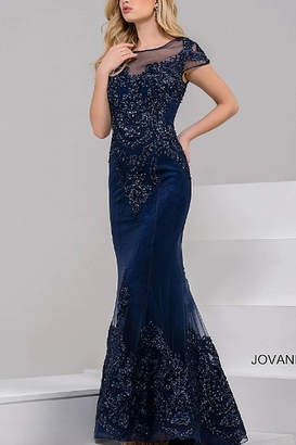 Jovani Navy High Neck Cap Sleeve Beaded Dress