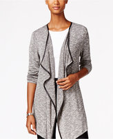 Style&Co. Style & Co. Draped Faux-Leather-Trim Cardigan, Only at Macy's