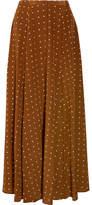 Diane von Furstenberg Polka-dot Washed-silk Maxi Skirt - Brown