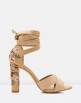 Forever New Lotus Embroidered Ankle Tie Heels
