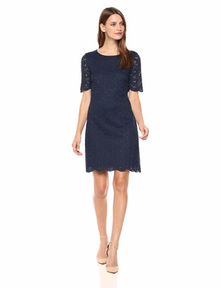 Lark & Ro Amazon Brand Women's Half Sleeve Lace Crewneck Sheath Dress