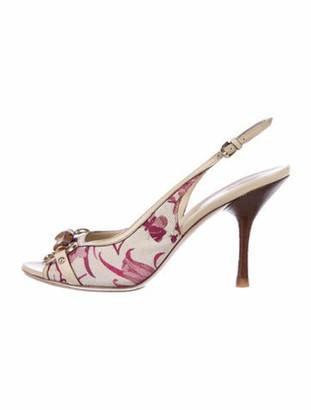 Gucci Floral Print Slingback Sandals Pink