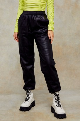 Topshop Womens Black Pu Quilted Joggers - Black