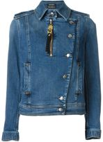 Anthony Vaccarello denim biker jacket - women - Cotton/Spandex/Elastane/Zamak - 34