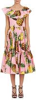 Dolce & Gabbana Women's Pineapple-Print Cotton Midi-Dress-PINK