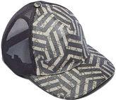 Gucci Men's Geometric Print 6 Panel Baseball Cap In Beige And Black