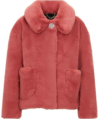 Palones Short Pink Faux Fur Coat