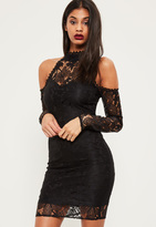 Missguided Tall Exclusive Black Lace Cold Shoulder Midi Dress