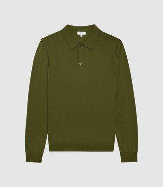 Reiss Trafford - Merino Wool Polo Shirt in Olive